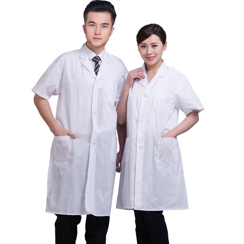 Casual Summer Unisex White Lab Coat Short Sleeve Pockets Turn-down Collar Uniform Work Wear Doctor Nurse Clothing FS99