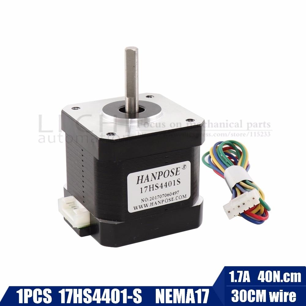 купить Free shipping 1PCS Nema17 Stepper Motor 42 motor Nema 17 motor 42BYGH 1.7A (17HS4401-S) motor 4-lead for 3D printer по цене 562.34 рублей