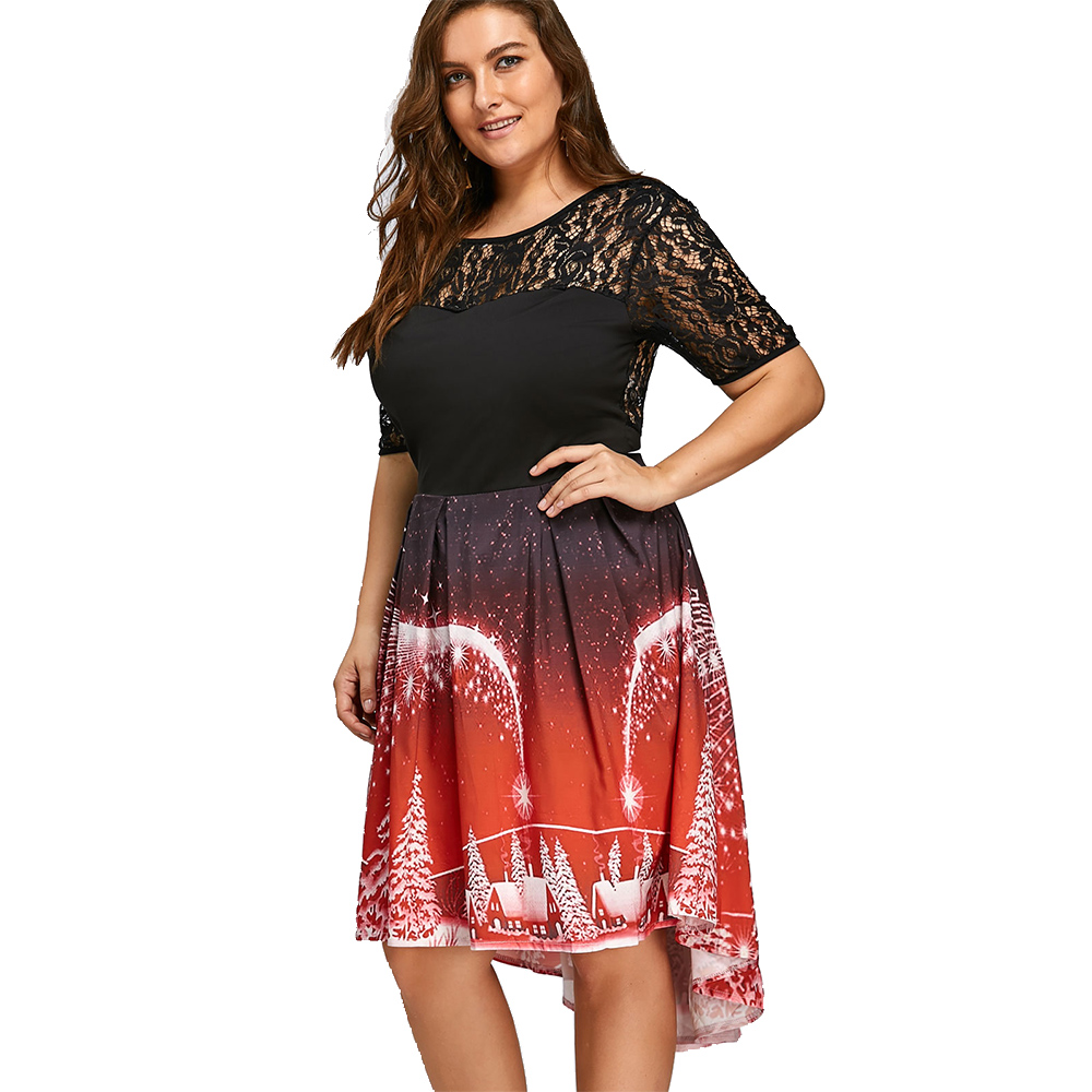 e0814f74ba5 Kenancy 5XL Plus Size Christmas Party Lace Panel Vintage Dress-in Dresses  from Women s Clothing on Aliexpress.com