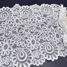 New Arrival 3Yards 22cm Black White Lace Fabric DIY Crafts Sewing Suppies Decoration Accessories For Garments Elastic Lace Trim(China)