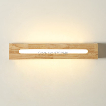 45 cm long Wood led wall lamp chinese style stair bathroom mirror light bedroom bedside lamp japanese style lamps, Haomer