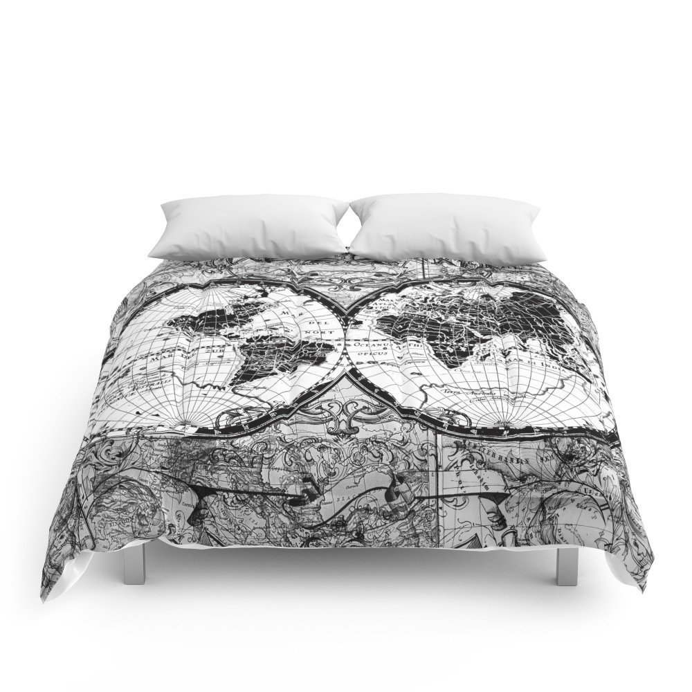 World map black and white comforters high quality fabric queenking world map black and white comforters high quality fabric queenking size duvet cover set bedding set in bedding sets from home garden on aliexpress gumiabroncs Choice Image