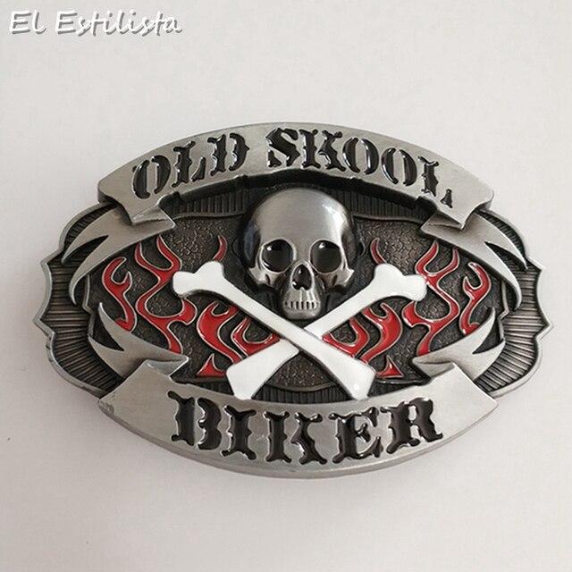 High Quality OLD SCHOOL Zinc Alloy Belt Buckle Men Women Punk BIKER Skull  Buckles Suit 4cm Width Belts Plating Jeans Accessories 3b4a6968d274
