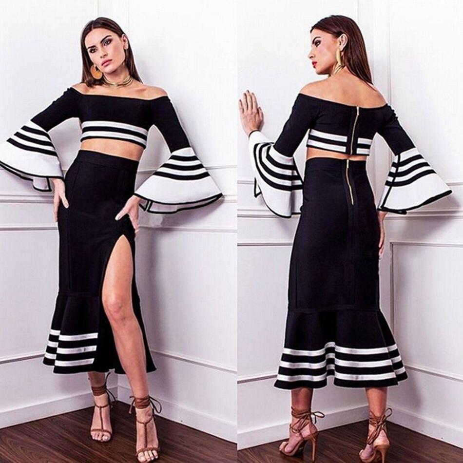 Newest Celebrity Party Bandage Dress Women Black 2 Two Piece Set - Women's Clothing - Photo 2