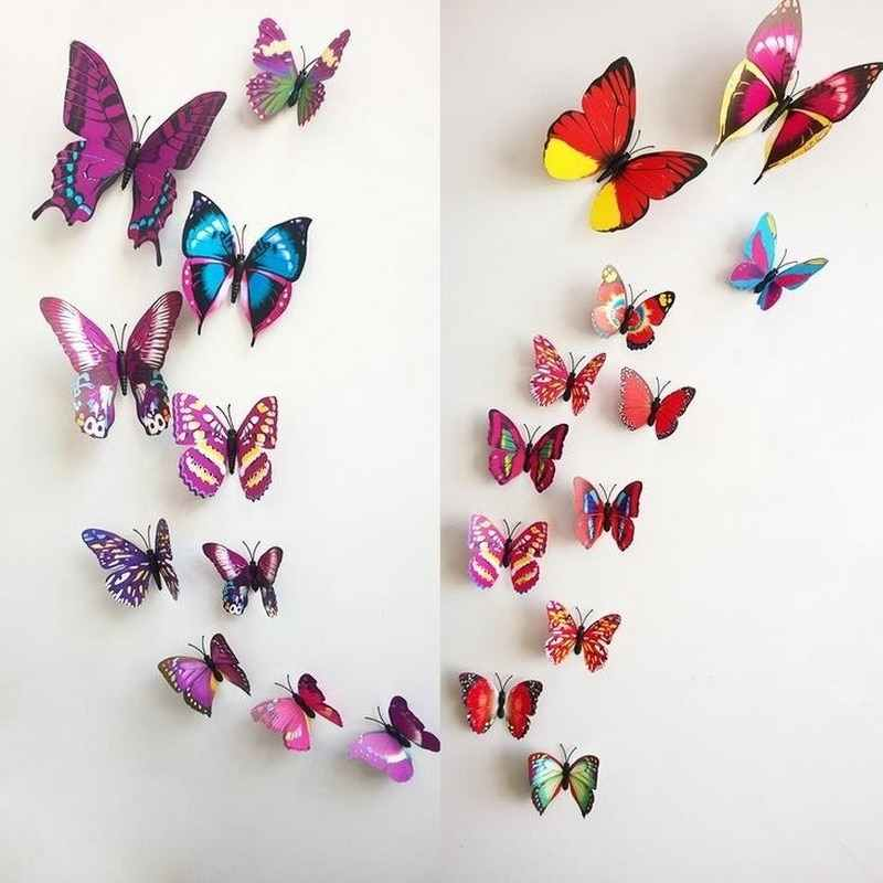 Urijk 3D Butterfly Shape Wall Stickers Home Decoration Multi Color DIY Background Kids Bedroom Wall Decal 12Pcs/Set PVC