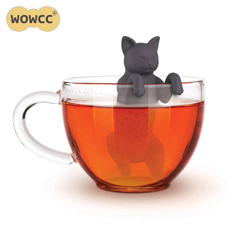 Cat Silicone Tea Bag Food Grade Leaf Herbal Spice Filter Dog Shape Tea Infuser Brewing Device Herbal Spice Filter Kitchen Tools