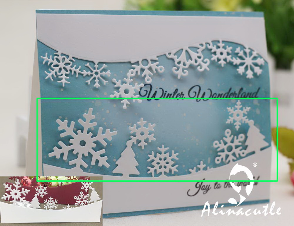 METAL CUTTING DIES cut alinacraft winter snowflake border line edge christmas Scrapbook paper craft album card punch art cutter title=