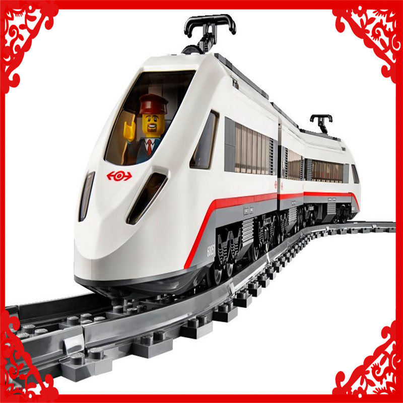 LEPIN 02010 City Train High-Speed Passenger Building Block Compatible Legoe 610Pcs Toys For Children