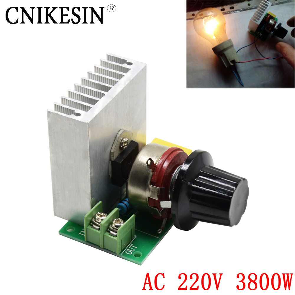 CNIKESN AC 220V 3800W imported SCR thyristor power electronic dimmer,voltage regulator,speed and temperature silicon controlled