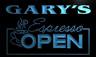 x0026-tm Garys Espresso Coffee OPEN Custom Personalized Name Neon Sign Wholesale Dropshipping On/Off Switch 7 Colors DHL