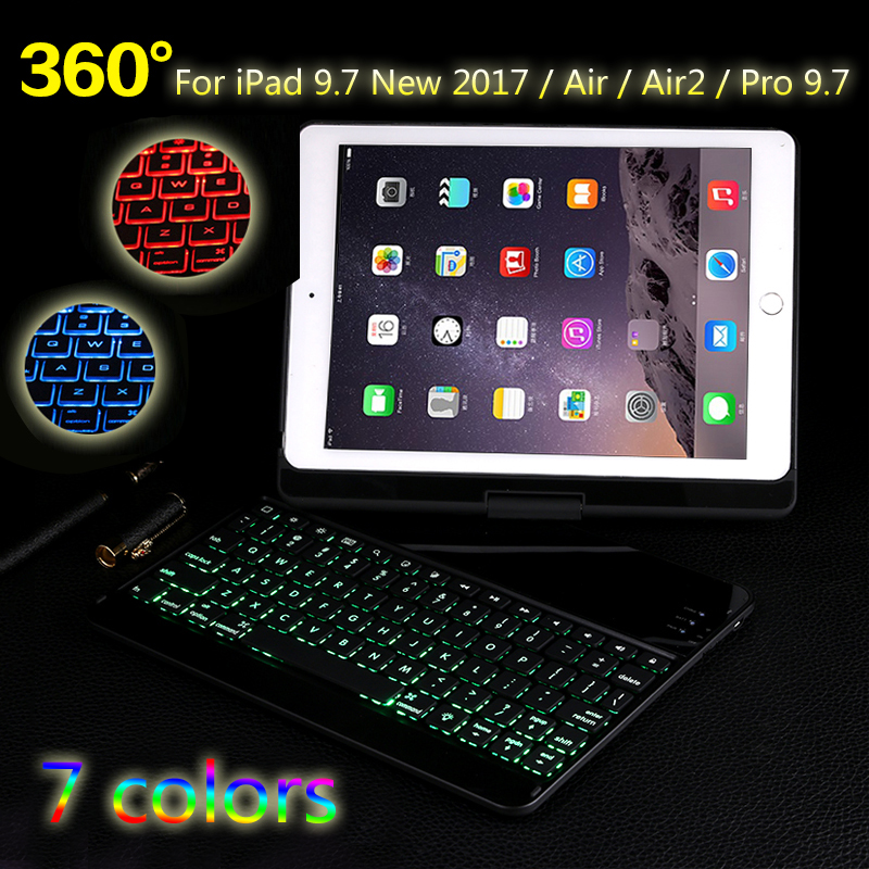 7 Colors Backlit Light Wireless Bluetooth Keyboard Case Cover For iPad 9.7 2017 2018 / Air / Air 2 / Pro 9.7 For iPad 5 / 6+Gift aluminum keyboard case with 7 colors backlight backlit wireless bluetooth keyboard