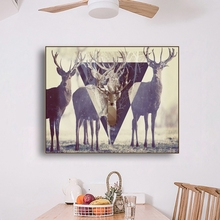 Laeacco Canvas Calligraphy Painting Animal Posters and Prints Abstract Deer Wall Art Nordic Home Decoration Living Room Decor laeacco canvas calligraphy painting abstract 5 panel unicorn wall art animal poster and print nordic home living room decoration