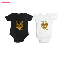 Culbutomind Black And White Cotton Short Sleeve My Aunt Loves Me Twins Baby Clothing Funny Baby