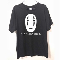 Japanese Style Spirited Away Letters Print T Shirt Cotton Short Sleeve Faceless Harajuku T Shirt Summer