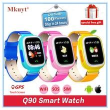 Дешевые MKUYT Q90 детей gps телефон позиционирования Смарт часы 1,22 дюймов Цвет Сенсорный экран SOS наручные часы с sim-карты слот ПК q50