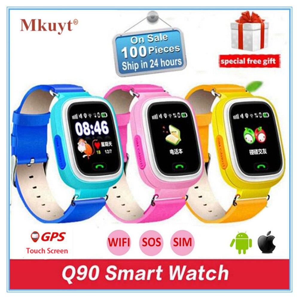 MKUYT Q90 Enfants Enfants GPS Téléphone Positionnement Montre Smart Watch 1.22 Pouce couleur Tactile Écran SOS Montre-Bracelet avec SIM Card Slot PK Q50