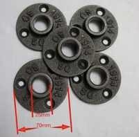 30 unids/lote DIY desván estilo hierro fundido Industrial pipas Base de brida (-DN20-3/4'id de orificio de tubería: 25 MM)