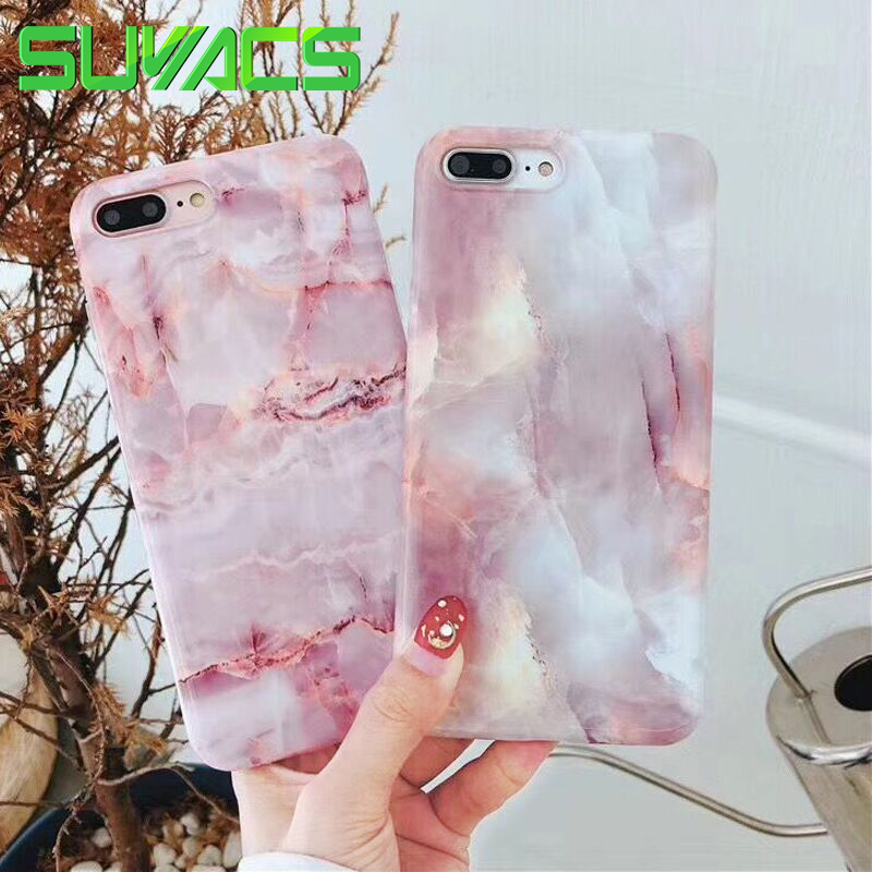 SUYACS Pink Marble Elegant Phone Cases For iPhone XR XS MAX 6 6S 7 8 Plus X Matte Soft IMD Full Body Phone Back Cover Cases smartphone