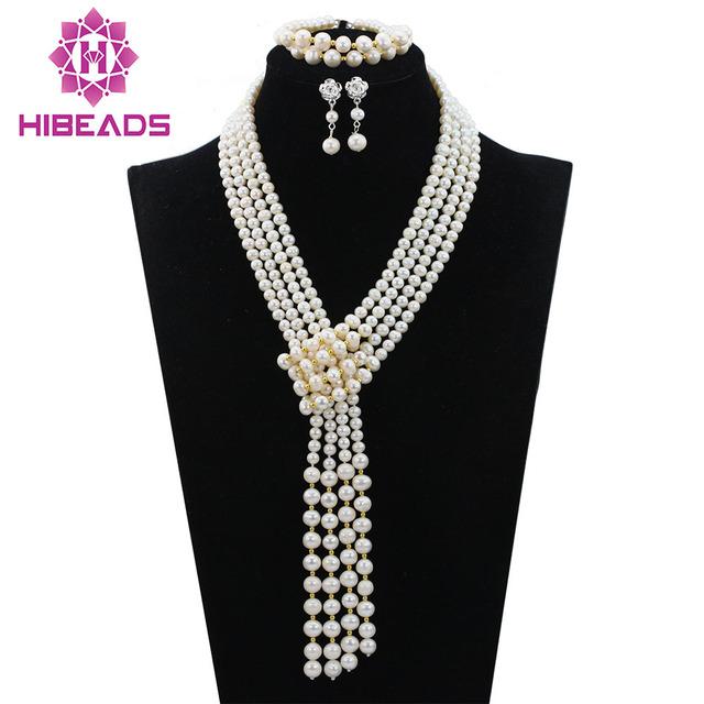 Romántica de La Boda Accesorios Jewerly Sistema Nupcial Blanco Perla de Los Granos de Traje Africana Collar Pendientes Pulsera Envío Gratis ALJ785