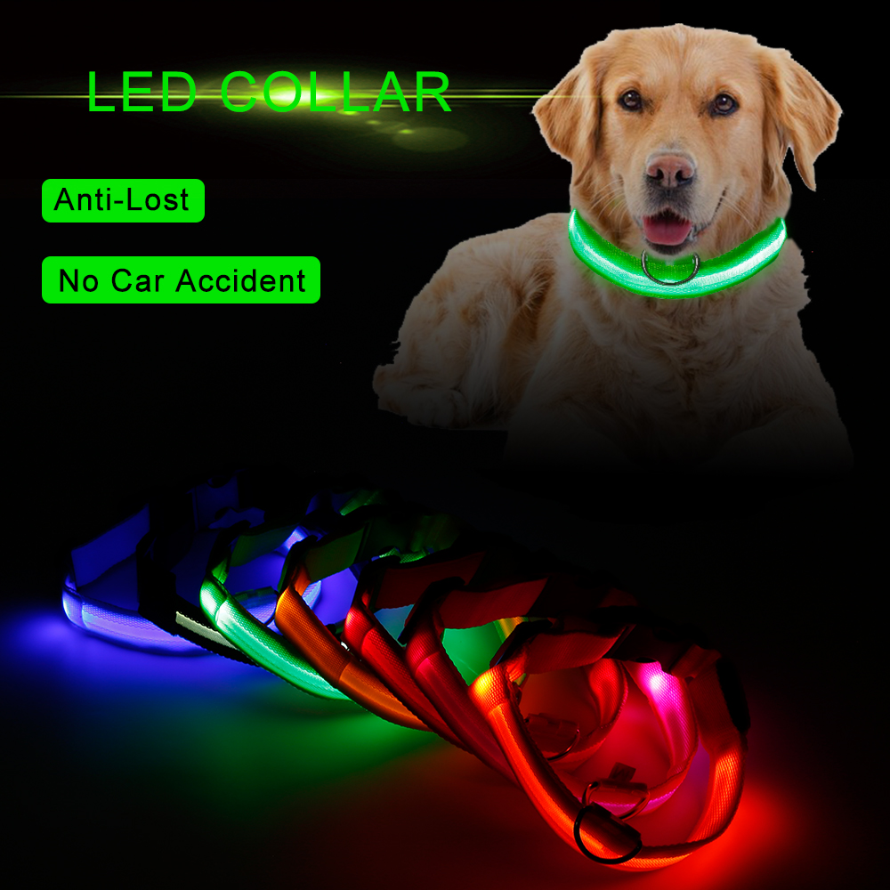 LED Light Night Safety Glowing Nylon Pet Dog Collar Pet Supplies Cat LED Dog Collar Pet Accessories For Small Dogs LED Collars