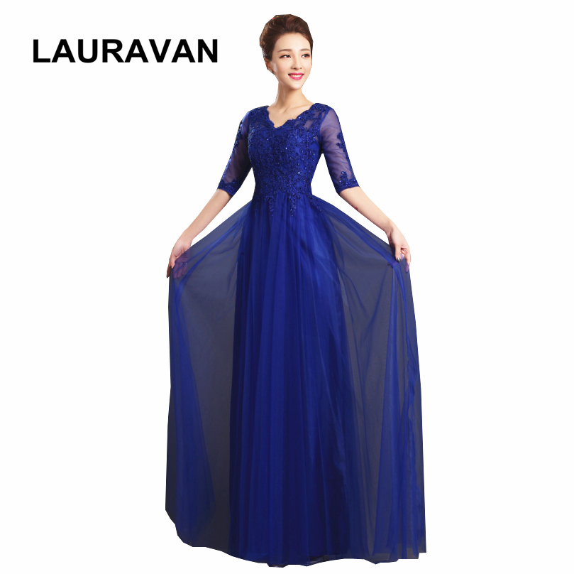 Tulle Sleeved Royal Blue Red Dresses Back New Fashion 2019 Dress Beautiful Bridesmaid Occasion Gowns Long Blue Ball Gown
