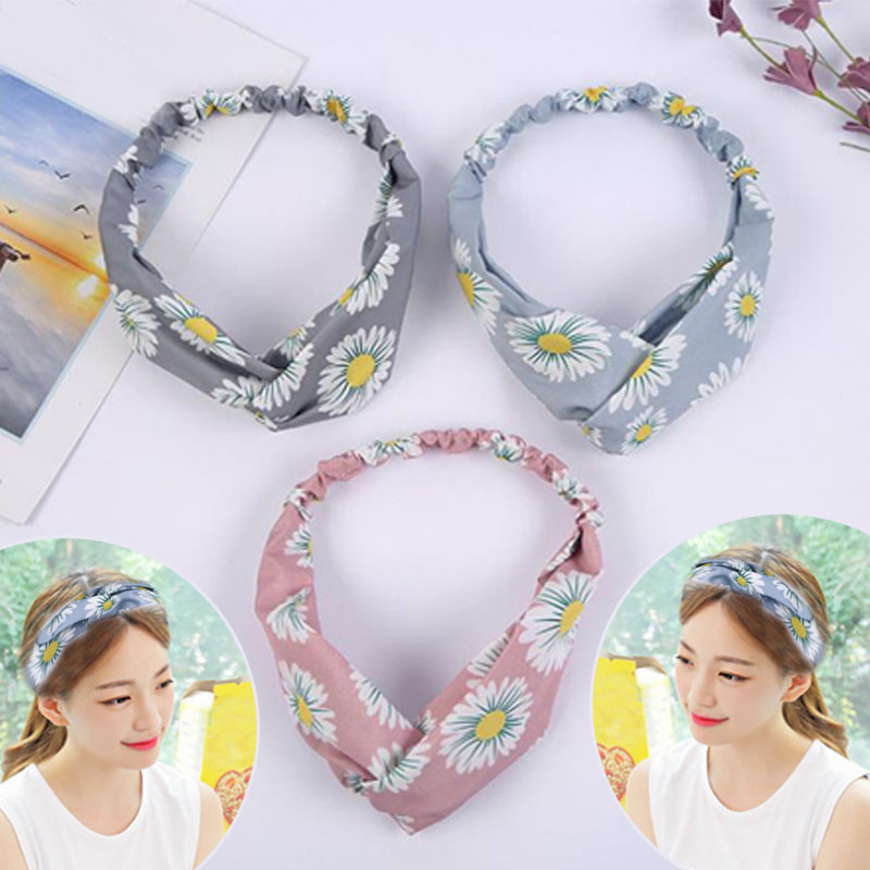 Купить с кэшбэком Hot Sale 1PC Fashion Cute Cross Flowers Printed Hairband High Quality Women Girls Headwear  Accessories
