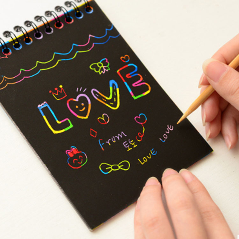 Scratch Paper DIY Painting Art Doodle Pad Children Educational Toys Drawing For Children Fun Kids Colorful Black With Wood Stick
