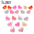 SLZBCY Cute Heart Open Adjustable Rings for Children Kids Birthday Gift Jewelry Acrylic Lovely Unicorn Pink Color Ring 20PCS/set