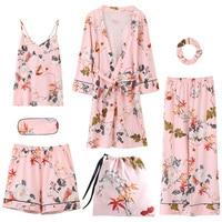 Summer Autumn Winter 7 Pieces Set Cotton Elegant Women Pajamas Full Shorts Long Sleeve Top Elastic Waist Pants Silk Lounge Robe
