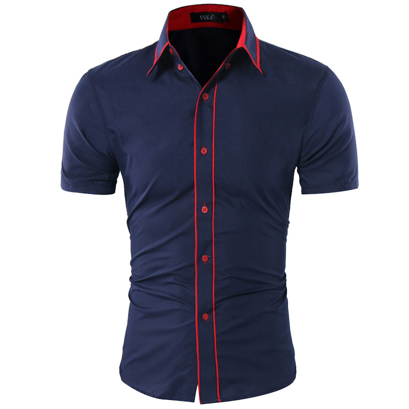 Slim fit double collar button short sleeves tops for Mens button collar shirts