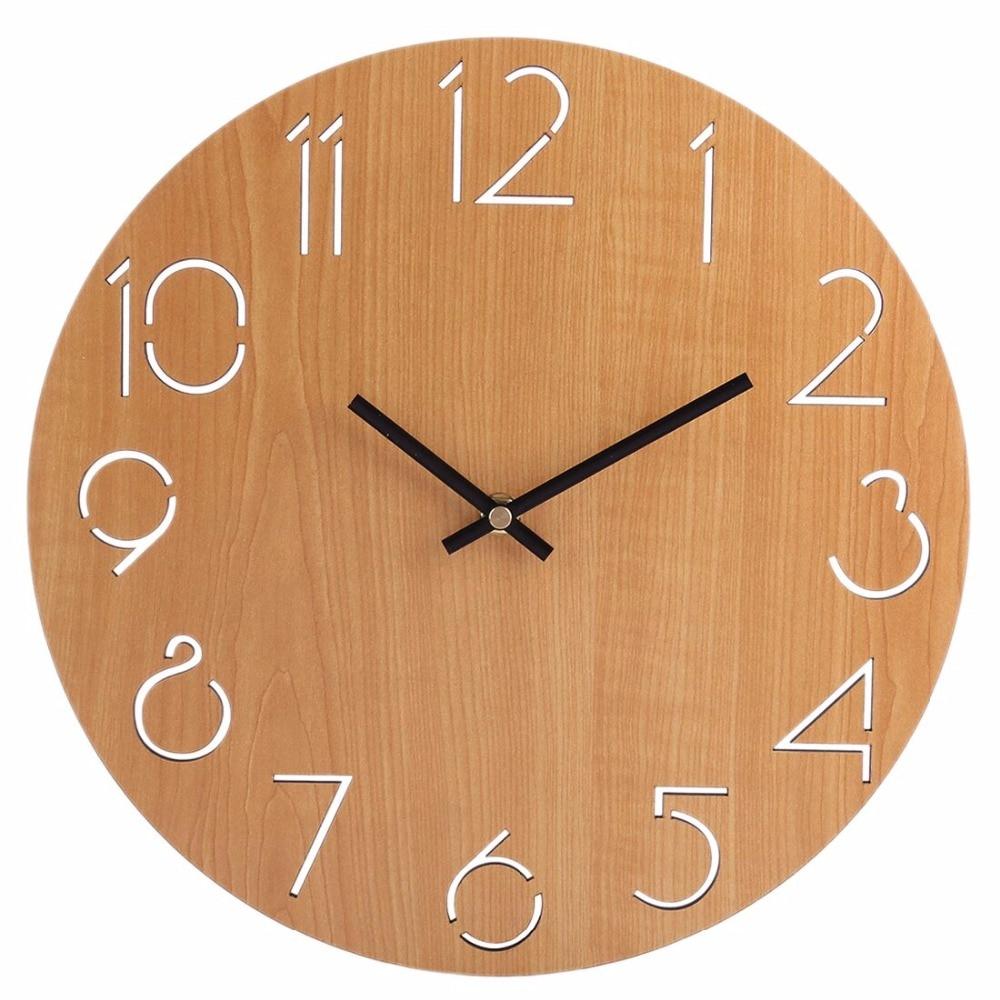 30Cm Simple Round Wall Clock Quartz Modern Design Country Style Beautiful Wall Clocks For Livingroom Home Decor
