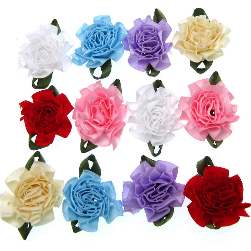 5//10Pc 50mm Satin Ribbon Rose Flower Craft Wedding Appliques  DIY Clothing Decor