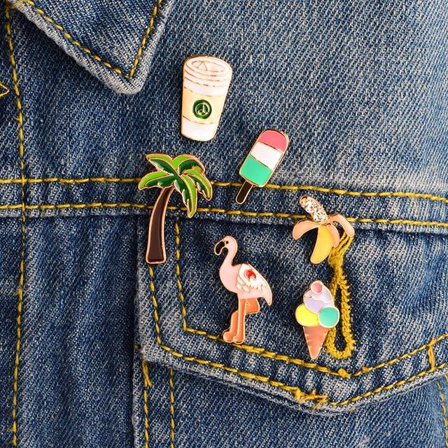 6PCS/SET Banana Lolly Flamingo Palm tree Cup Pins Brooches Badges Hard enamel la