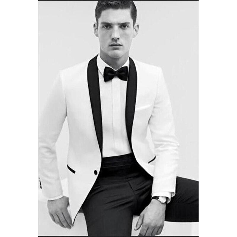 Мужской костюм на одной кнопке, белый блейзер + брюки + бабочка, 2019