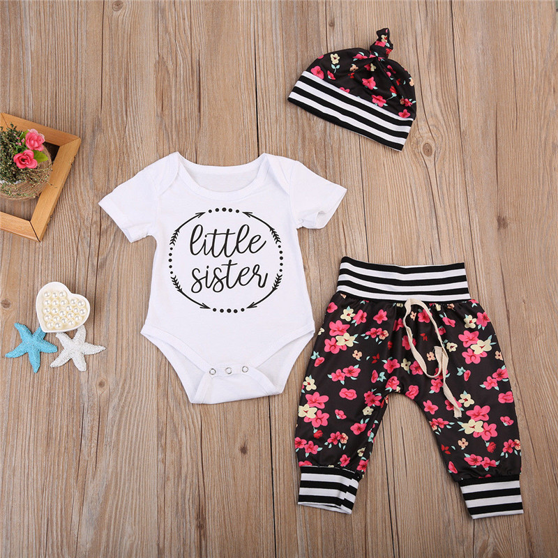 3pcs Infant Baby Girl Clothes Floral Short Sleeve Romper + Pants +Hat Outfits Cotton Costume Baby Clothing Set 0-24M