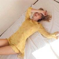 Шелковый Атлас мини платье с рюшами наручные с длинными рукавами и круглым вырезом солнца Цветочный принт милые сексуальные весенние плать