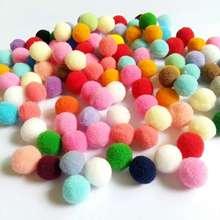 200-60Pcs/lot Colorful Pompom Ball Fur Plush Mixed Color Creative Kids Handmade Material DIY Craft Supplies