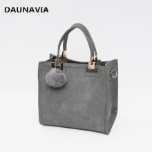 DAUNAVIA Brand Top-Handle Bags Women Leather Handbags Large Solid Shopping Tote With Tassel Fur Ball Shoulder Bag Messenger Bags