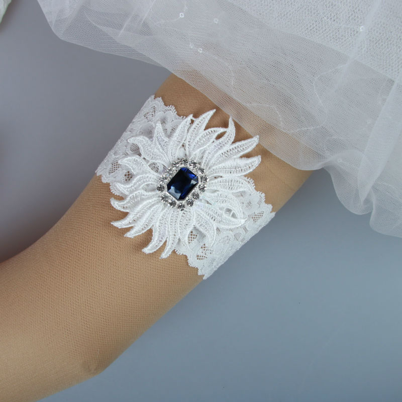Crystal Wedding Garter: Vintage Crystal Applique Stretched Lace Wedding Garter
