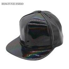 цена на Shining PU Flat Brim Baseball Hats For Women Men Solid Snapbacks Cap PUNK Street Dancer Leather Cool Hip Hop Caps