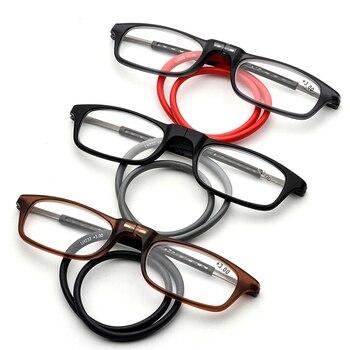 1c70521bf7 Actualizado imán gafas de lectura de las mujeres de los hombres colgante  ajustable cuello delantero magnético miopía gafas + 1,00 + 1,50 + 2,00 +  3,00