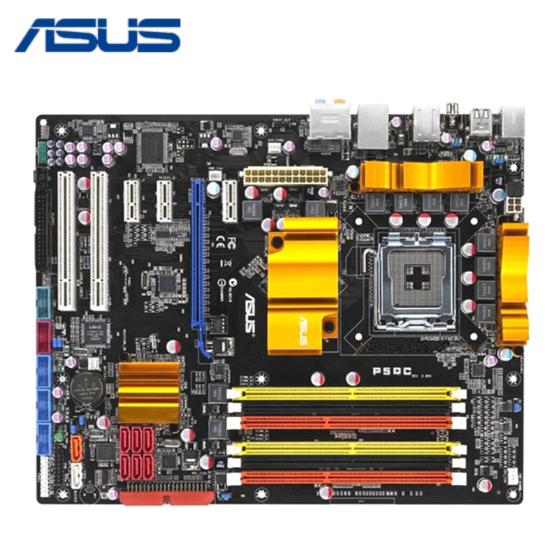 DDR2 / DDR3 LGA 775 For ASUS P5QC Motherboard For Intel P45 Desktop Mainboard Systemboard PCI-E X16 8 Phase Power Supply Used