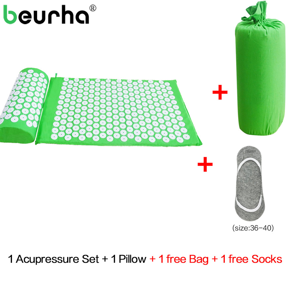 Beurha Acupressure Mat And Pillow Set Massage Mat For Natural Relief of Stress Pain Tension Body Head Back Foot Massage Cushion acupressure mat and pillow set massage mat for natural relief of stress pain tension body head back foot massage cushion mat