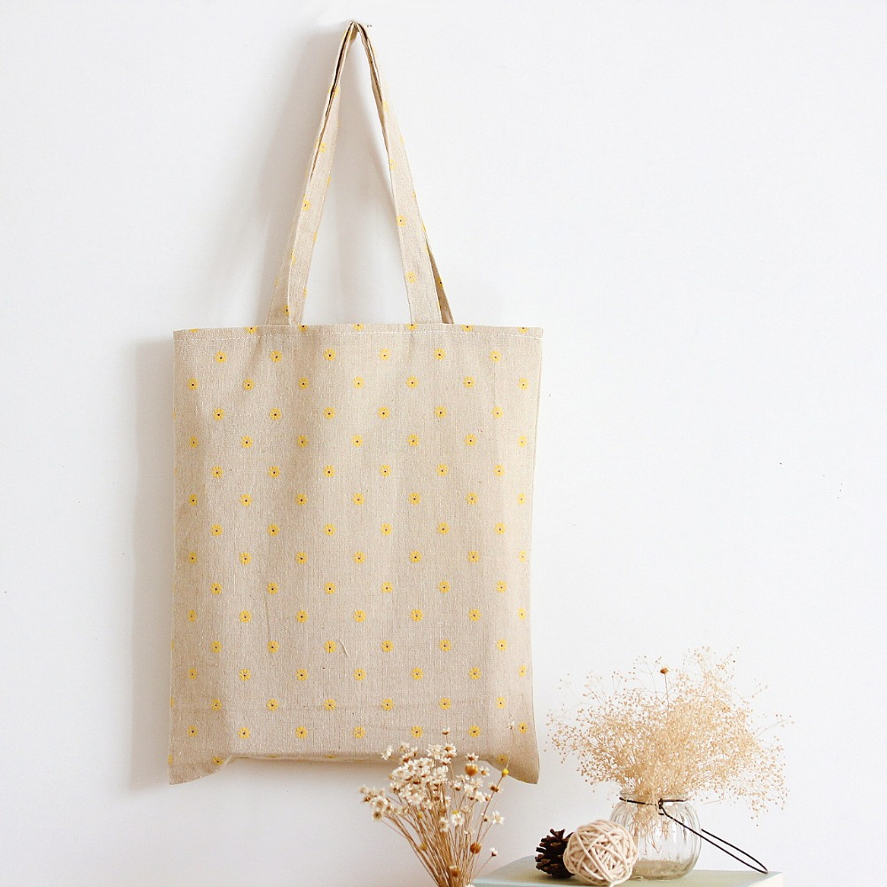 YILE Handmade Cotton Linen Eco Reusable Shopping Shoulder Bag Tote Yellow Daisy  L029