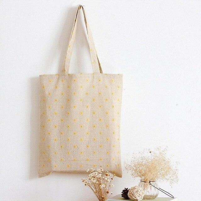 YILE fait main coton lin Eco réutilisable Shopping sac à bandoulière fourre-tout jaune Daisy L029