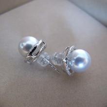 купить Eternal wedding Women Gift word 925 Sterling silver real Natural seawater pearl earrings earrings earring Japan Akoya round to t по цене 19643.57 рублей