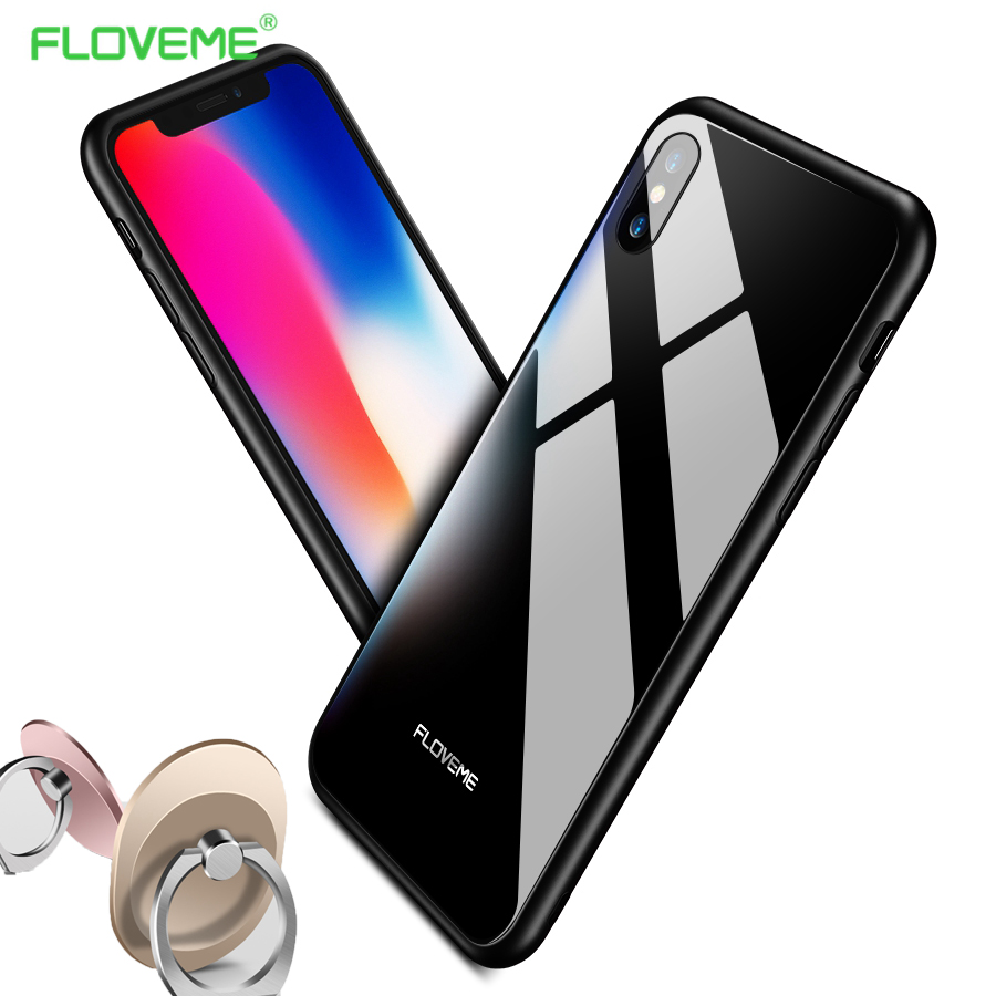 FLOVEME Tempered Glass Phone Cases For iPhone X 7 7 Plus 8 8 Plus Case Shockproof Soft TPU Frame Hard Tempered Glass Back Cover