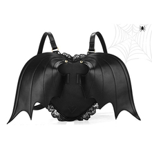 Women's Punk Stylish Heart Bat Wings Zipper Bag Backpack Novetly Lace Bookbag