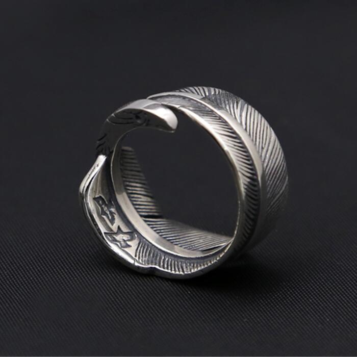 12.3g solide 925 en argent Sterling plume aigle Desgin anneau de manchette hommes Vintage Style indien Antique Thai argent 925 bijoux hommes cadeau