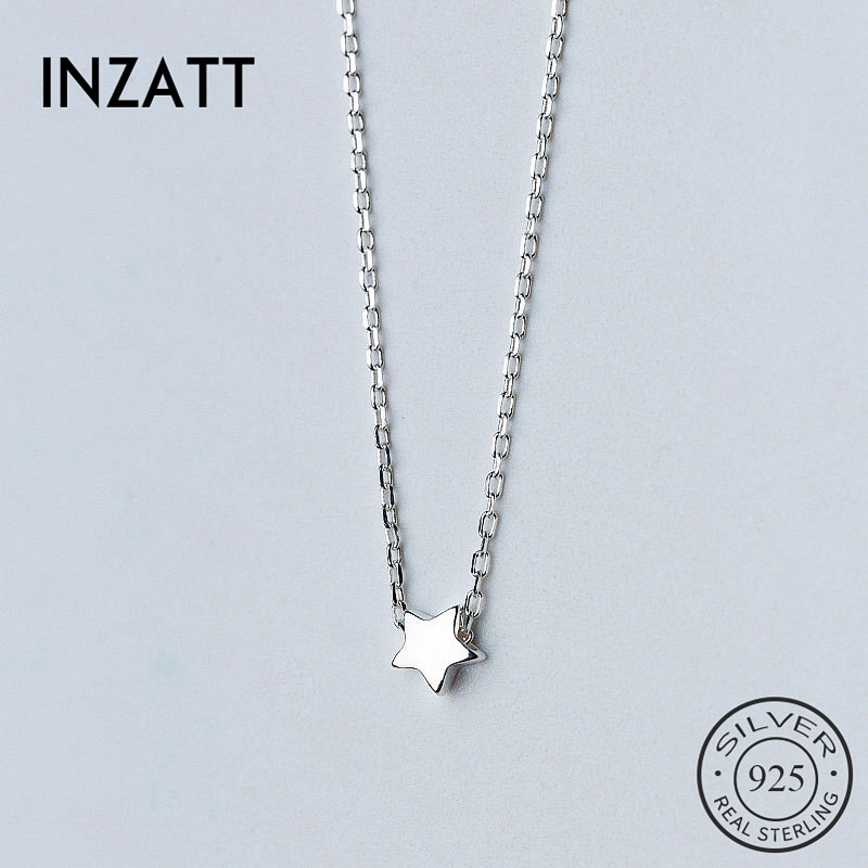 INZATT Real 925 Sterling Silver Classic Cute Star Choker Necklace Minimalist Fine Jewelry For Women Birthday Party Accessories